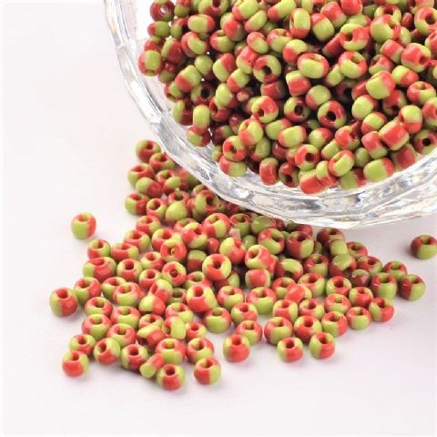 Seed Beads - 8/0 - Orange/Green Opaque - 50g